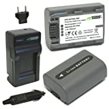 Wasabi Power Battery (2-Pack) and Charger for Sony NP-FP50, NP-FP30 and Sony DCR-DVD103, DCR-DVD105, DCR-DVD203, DCR-DVD205, DCR-DVD305, DCR-DVD92, DCR-HC20, DCR-HC21, DCR-HC26, DCR-HC30, DCR-HC32, DCR-HC36, DCR-HC40, DCR-HC42, DCR-HC46, DCR-HC65, DCR-HC85, DCR-HC96, DCR-SR40, DCR-SR60, DCR-SR80, DCR-SR100