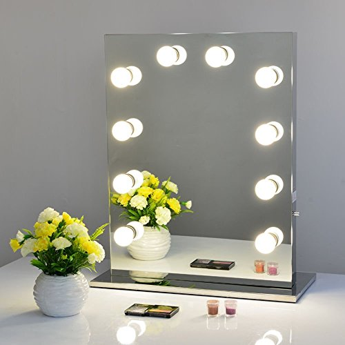 Frameless Hollywood Tabletops Lighted Makeup Vanity Mirro...
