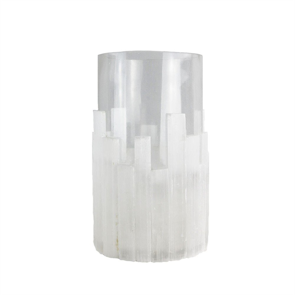 Benzara White Selenite Hurricane Votive Candleholder, Long