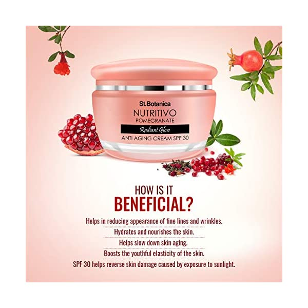 StBotanica Nutritivo Pomegranate Radiant Glow Anti Aging Cream Spf 30-24hrs Hydration For Plumped and Glowing Skin, No… 2021 July non-sticky cream for advanced skin care. helps in reducing appearance of fine lines and wrinkles. hydrates and nourishes the skin, and protects against photo-ageing recommended for daily use for smooth, soft, fair and glowing younger-looking skin antioxidant rich pomegranate seed extract and cold-pressed oil help slow down skin ageing and boost the youthful elasticity of the skin
