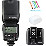 Godox TT600S HSS 1/8000s GN60 Built-in 2.4G Wireless X System Flash Speedlite Light X1T-S Remote Trigger Transmitter Compatible for Sony Multi Interface MI Shoe Cameras+Diffuser+CONXTRUE USB LED