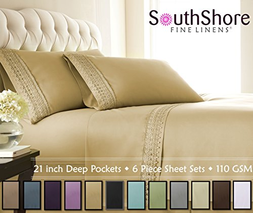 Southshore Fine Linens 4-Piece 21 Inch Deep Pocket Sheet Set with Beautiful Lace (Queen, Gold)