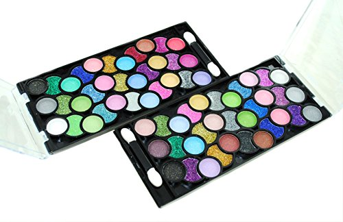 32 Color Design Neon Glitter & Plain Eyeshadow Makeup Kit + Extra 32 Color Eyeshadow Set