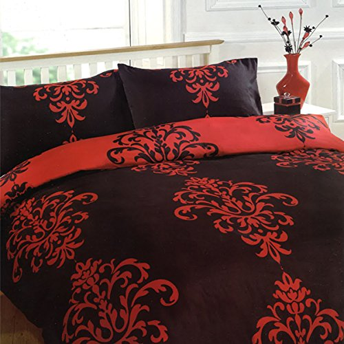 King Dreamscene Savoy Duvet Cover Set Black//Red