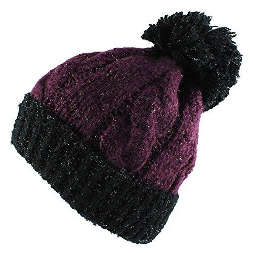 Morehats Large Pom Pom Soft Crochet Thick Knit Slouchy Beanie Beret Winter Ski Hat - Purple/Black