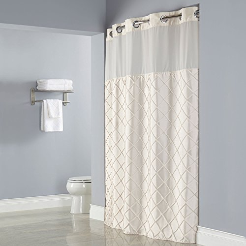 Hookless Pintuck PEVA Lined Shower Curtain - Beige with Chrome Raised Flex-On Rings, It's A Snap! Polyester Liner with Magnets, and Poly-Voile Translucent Window - 71 in x 77 in (Beige)