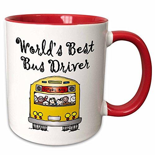3dRose 193351_5 Worlds Best Bus Driver Two Tone Mug, 11 oz, Red Worlds Best Bus Driver