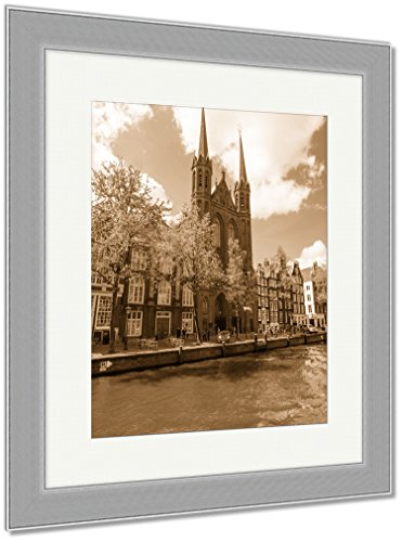 Ashley Framed Prints Krijtberg Kerk Roman Catholic Church At The Singel Canal Amsterdam Netherlands, Wall Art Home Decoration, Sepia, 40x34 (frame size), Silver Frame, AG5677921 by Ashley Framed Prints
