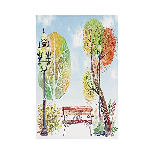 Polyester Garden Flag Outdoor Flag House Flag Banner,Lantern,Colorful Fall Trees Wooden Bench Lantern in Park on Blue Sky Street Lamps Decorative,Orange Yellow Green,for Wedding Anniversary Home Outdo