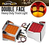 Partsam Pair Truck Trailer 52 LED Red/Amber Square Double Face Pedestal Fender Stop Turn Tail Lights Three Stud Mount w/Chrome Bezel and Visor Waterproof for Peterbilt Kenworth Freightliner Volvo