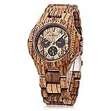 Bewell W116B Mens Wooden Watch with Date Day Luminous Hands Lightweight Retro Wrist Watch (Zebra Wood)