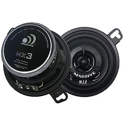 Massive Audio MX3 MX Series Coaxial Speakers. 50 Watts, 4 Ohm, 25w RMS Heavy Duty 3.5