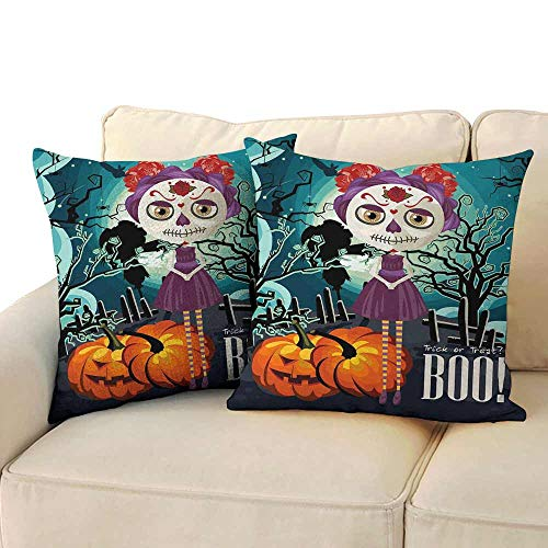 Couple Pillowcase Halloween Cartoon Girl with Sugar Skull Makeup Retro Seasonal Artwork Swirled Trees Boo Soft and Breathable W 16