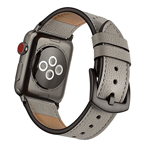 Mifa Leather Band Compatible w/Apple Watch 5 4 40mm 38mm iwatch Series 3 2 1 Replacement Strap Dressy Classic Bands Buckle Vintage Band with Black Stainless Steel Adapters 40/38mm Grey Oyster