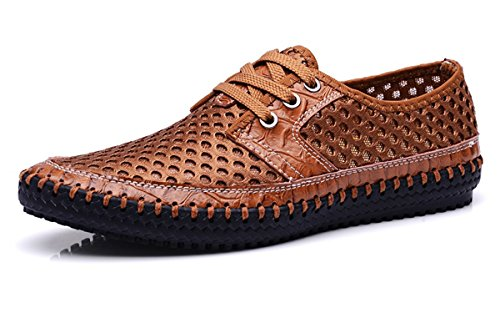 - Beeagle Mens Water Shoes Lace up Breathable Mesh Flat Walking Shoes Casual British Style Fashion Sneakers Brown 44
