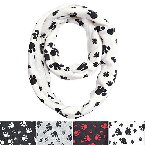 Premium-Soft-Faux-Fur-Dog-Paw-Print-Infinity-Loop-Circle-Scarf-Diff-Colors