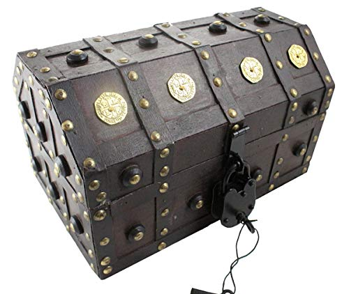 (Well Pack Box Treasure Chest Pirate 11x 7x 6 Lock Skeleton Keys Doubloon Accents in Antique Cherry Stain (Small))
