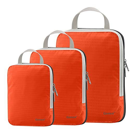 Set of 3 Gonex Packing Cubes, Clothing Compression Cube Extensible Storage Bags Organizers(Orange)