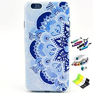 YULIN Faceplate Pattern with Stylus ,Anti-Dust Plug and Stand TPU Soft Case for iPhone 6