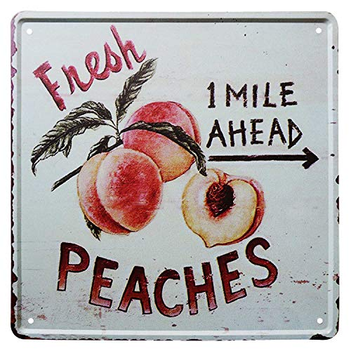 SIGNT Outdoor Garden Fresh Peaches Fruit Tin Signs Vintage Bar Country Bar Gifts Retro Metal Sign Wall Decor for Home Garage Dorm Personalized Design 12