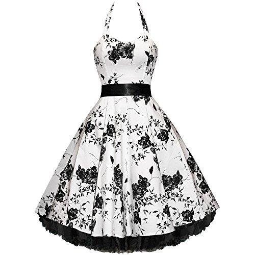 50er Jahre Rockabilly Kleid Vintage Blumen - Flower White (ohne)