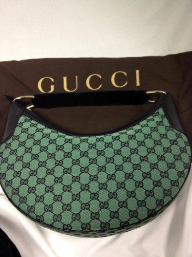 Gucci Signature Fabric Hobo Shoulder Handbag (Black/green) (Bag Gucci)