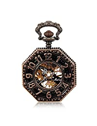 Copper Tone Octagonal Steampunk Mechanical Pocket Watch Personalized Vintage Skeleton Steampunk Men Women Hand Wind FOB Watch