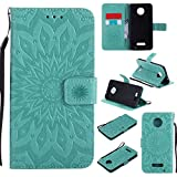 Cheap Moto Z Force Droid Edition Case Cover,SMYTU Premium Emboss Sunflower Flip Wallet Shell PU Leather Magnetic Cover Skin with Wrist Strap Case for Motorola Moto Z Force(Green)