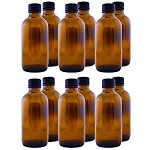 Amber Glass Bottle 4oz W/black Phenolic Cone Lined Caps (12 Pcs) By Greenals