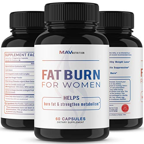 Womens Fat Burner Weight Loss Pills Designed for Increasing Healthy Metabolism, Supporting Energy Levels, Fat Loss, and Increasing Tone; Non-GMO, Gelatin-Free; 60 Vegetarian Capsules for Women by MAV Nutriton (Image #3)