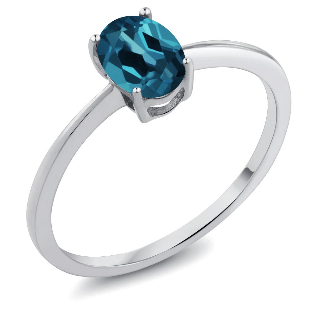 0.90 Ct Oval London Blue Topaz 10K White Gold Solitaire Engagement Ring (Size 6)