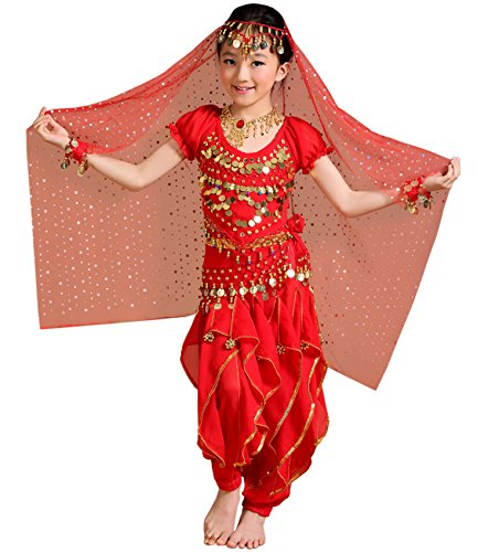 2626de277c659 Astage Girl Kids Halloween Party Costume Belly Dance Active Wear All  Ornaments,Red,M