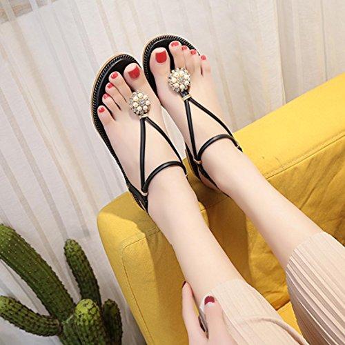 Fheaven Dames Boho Pearl Sandalen Zomer Diamant Sandalen Elastische Bandjes Platte Sandalen Schoenen Zwart
