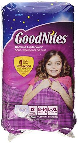 GoodNites Underwear, Girls, L-XL (60-125+ lbs), Jumbo, 12 ct.