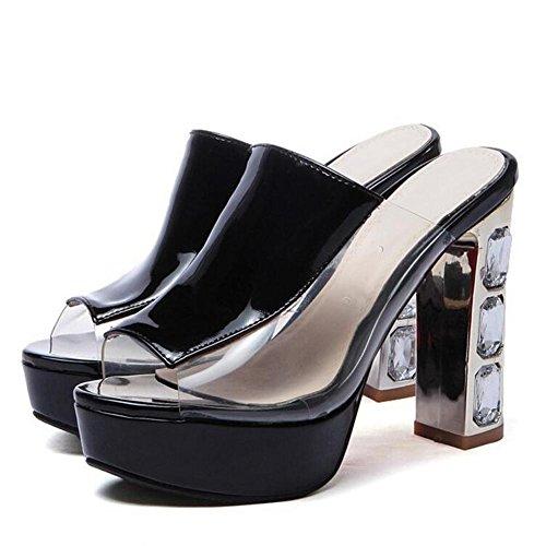 L@YC Frauen Fisch Sauce Dick mit Fr¨¹hling Sommer Sandalen High Heels Zehe Plattform Schwarz Rot Wei? Black