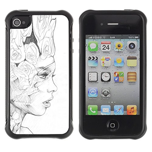 Apple Iphone 4 / 4S - Black Pencil Woman Fashion Art