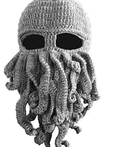 Dasior Tentacle Octopus Cthulhu Knit Beanie Hat Windproof Beard Ski Mask -