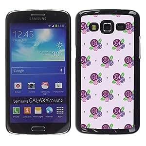 FlareStar Colour Printing Floral Pattern Flowers Purple Pink cáscara Funda Case Caso de plástico para Samsung Galaxy Grand 2 II / SM-G7102 / SM-G7105
