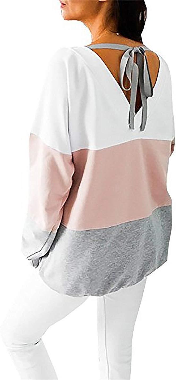 L Rosa Generic Damen Sweatshirt Langarmshirt V-Ausschnitt Pullover Casual Sport Shirt Oberteile mit Tie Back