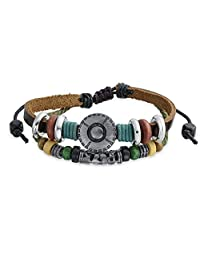 Bling Jewelry Concho Buckle Style Zen Leather Wrap Bracelet Silver Plated