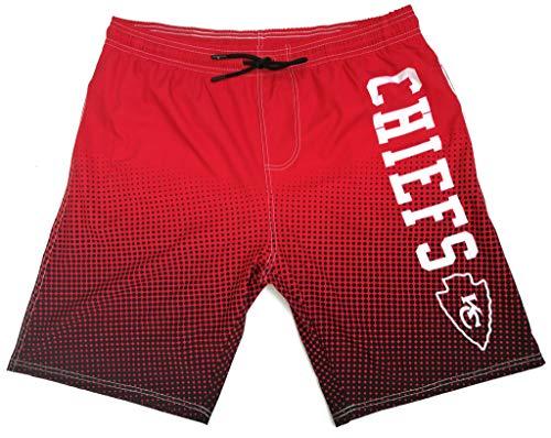 NFL Men's Swim Trunks Quick Dry Beach Shorts with Pockets (Kansas City Chiefs, XL)