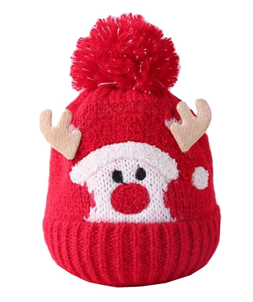 October Elf Christmas Childrens Wool Hats Knit Caps Kids Gift for Toddler Girls Boys Autumn and Winter 2-4 Years)
