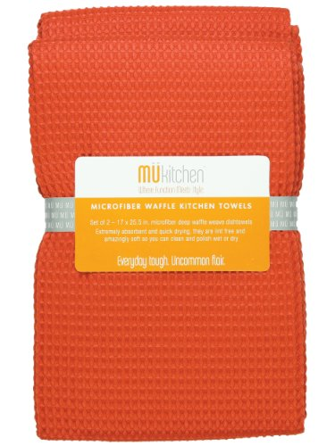 MUkitchen Microfiber Waffle Dishtowel, 17 by 25-1/2 Inches, Set of 2, Coral