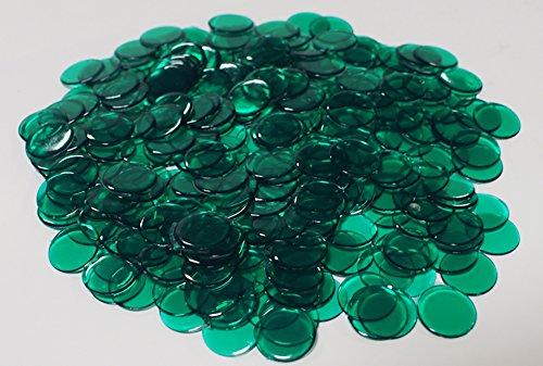 Dark Green Chip - 1200 plastic chips with Free Storage Bag (TRANSPARENT DARK GREEN)