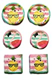 Aloha Pineapple N Friends Party Bundle 9'' Plates (16) 7'' Plates (16) Napkins (32)