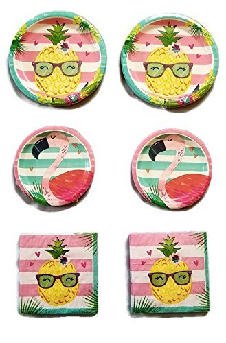 Aloha Pineapple N Friends Party Bundle 9'' Plates (16) 7'' Plates (16) Napkins (32) by Paper Art