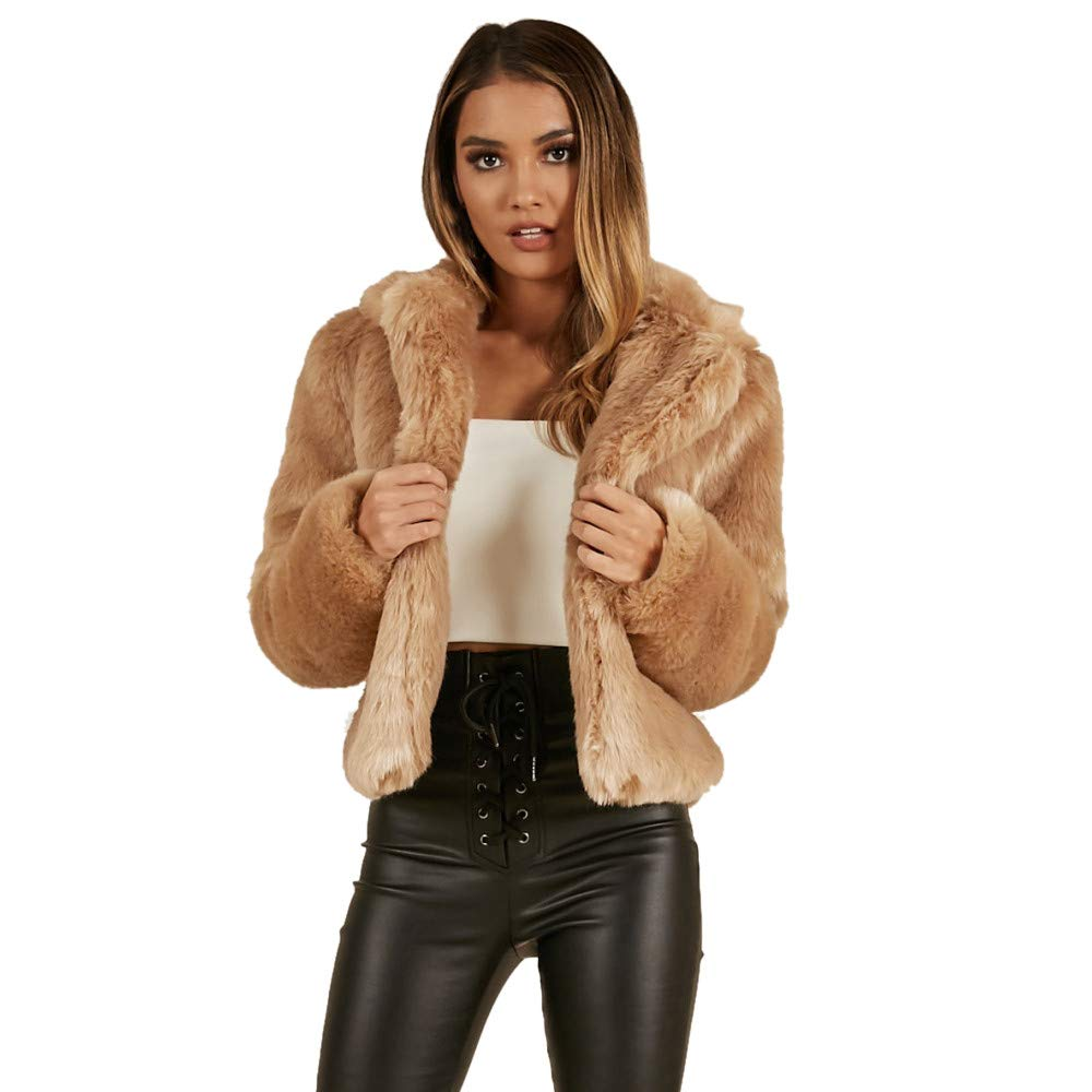 Darringls Abrigo Mujer Elegantes,Chaqueta imitación de Piel Corto SeccióN Abrigos cálido Más Terciopelo Parka Cárdigan: Amazon.es: Ropa y accesorios
