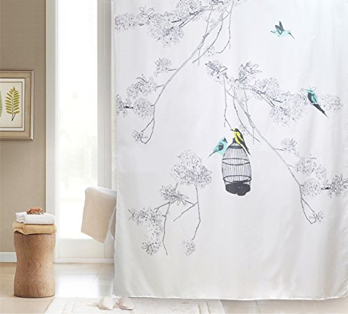 Get Orange Polyester Terylene Birds Shower Curtains Bathroom Curtain - Thickening Waterproof Coating Curtains(72x 72in) (Birds Shower Curtain)