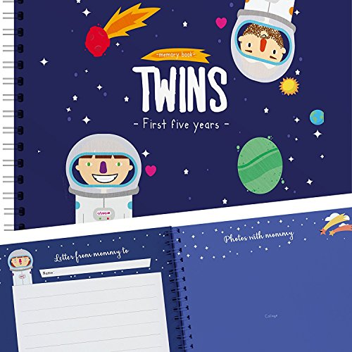 Astronaut Edition - Twins First Five Years Memory Book with Stickers - Baby Keepsake Journal to Cherish Your Twin's First Five Years - Includes Dental Records, First Day of School, and More ()