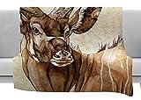 KESS InHouse Wildlife Africa 1'' Brown Animals Fleece Throw Blanket, 80'' x 60''